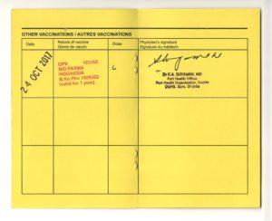 Polio vaccination card