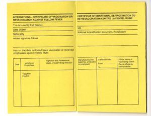Yellow Fever Vaccination Card